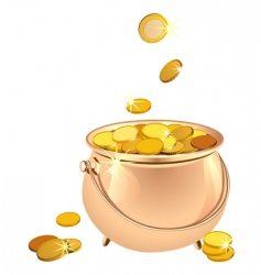Pot with coins vector
