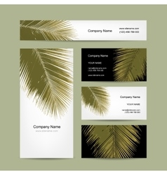 Business cards design with tropical palm leaf vector image