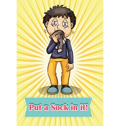 Man putting sock in his mouth vector