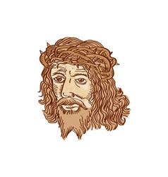 Jesus christ face crown thorns etching vector