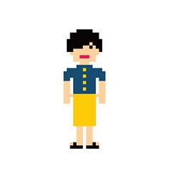 Pixel people woman avatar theme vector