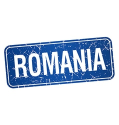 Romania blue stamp isolated on white background vector