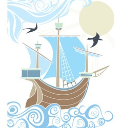 Stencil sailing vessel vector