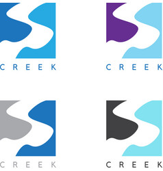 Abstract creek or path labels set vector