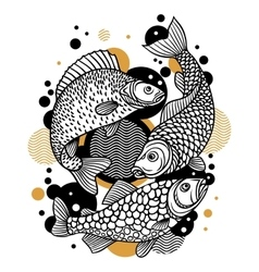 Background with decorative fish image for design vector