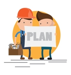 Characters on building worker vector