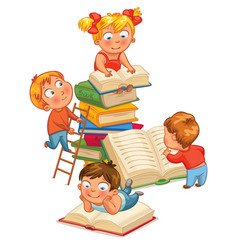 Children reading books in the library vector