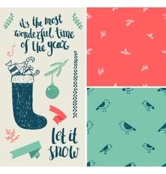 Christmas New Year set Hand drawn winter vector image