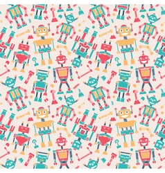 Cute retro robots colorful silhouette background vector image