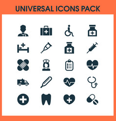 Drug icons set with drug healer mark and other vector