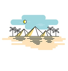 Egyptian pyramids style line flat vector