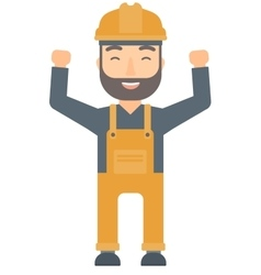 Engineer standing with raised arms up vector