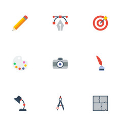 Flat icons pen scheme compass and other vector