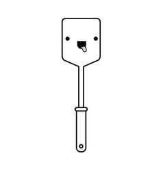 frying square spatula monochrome kawaii silhouette vector image vector image
