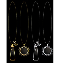 Gold and silver floral necklaces vector image vector image