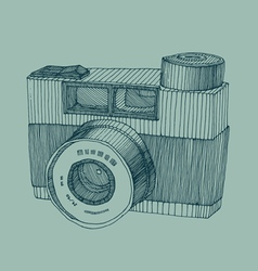 Hipster photo camera with flash engraved retro sty vector