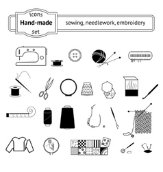 Icons set sewing needlwork knitting vector