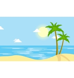 Landscape of beach with sun cartoon vector