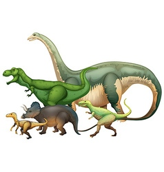 Many dinosaurs on white background vector