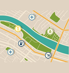 Map with gps pointers for park and shop hospital vector