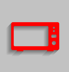 microwave sign red icon with vector image vector image
