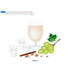 Mistra a popular alcoholic beverage in san marino vector