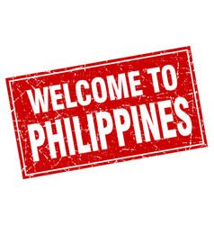 Philippines red square grunge welcome to stamp vector