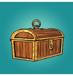 Pirate wood treasure chest closed vector