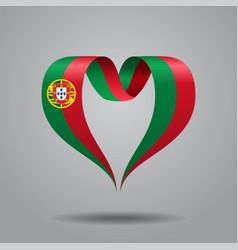 portuguese flag heart-shaped ribbon vector image vector image