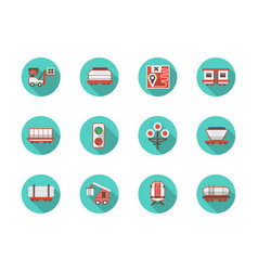 railway platforms round flat blue icons set vector image vector image
