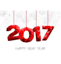 Red new year 2017 design in low poly vector