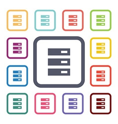 server flat icons set vector image