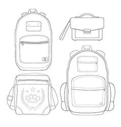 Set of 4 fashionable men bags Contour vector image