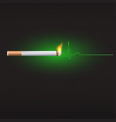 smoking and heart beat graph vector image