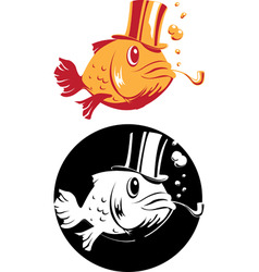 smoking fish vector image