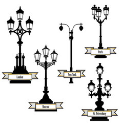 street lamp set streetlight city sign london vector image