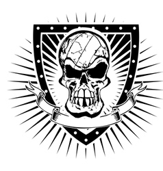 volleyball skull shield vector image vector image