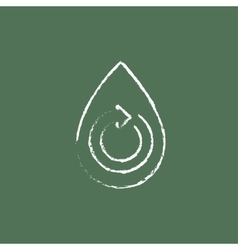 Water drop with circular arrow icon drawn in chalk vector image vector image