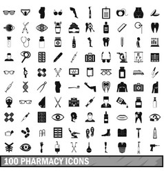 100 pharmacy icons set simple style vector image vector image
