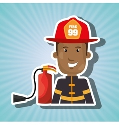 Firefighter extinguisher protective vector