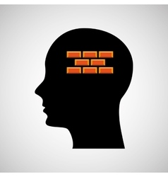 Head silhouette black icon bricks construction vector