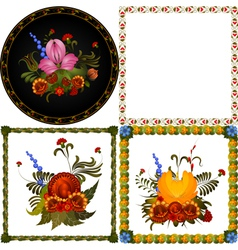 Set of images of decorative floral frame vector image