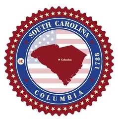Label sticker cards of state south carolina usa vector