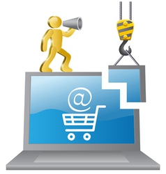 Human-builder and e-shop vector image