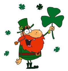 Male leprechaun holding up a clover vector
