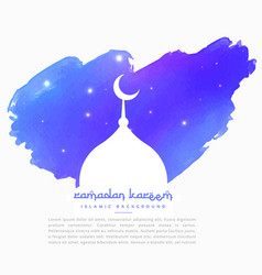 Mosque silhouette in blue paint stroke vector