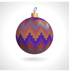 Knitted christmas ball vector