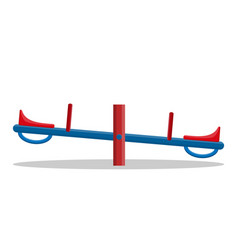 Seesaw closeup isolated on white background vector