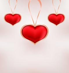 Cute background for valentine day with red hearts vector