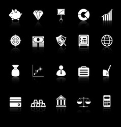 Finance icons with reflect on black background vector image